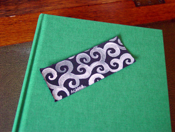 Ghost Spirals Bookmark, with book, by Amy Crook