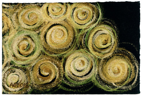 Gold Spirals 1, abstract watercolor by Amy Crook, $199