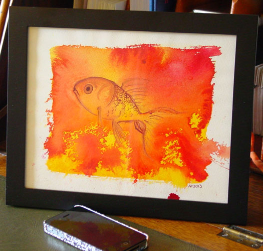 Goldfish, framed art by Amy Crook