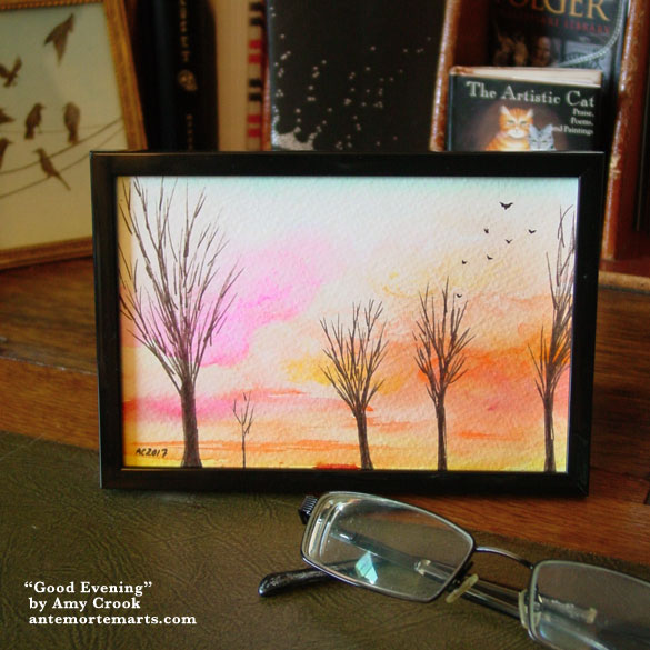 Good Evening, framed art by Amy Crook