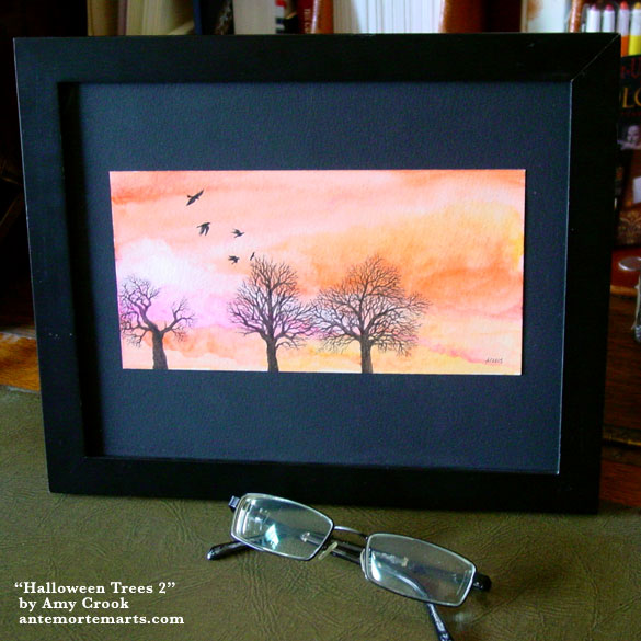 Halloween Trees 2, framed art by Amy Crook