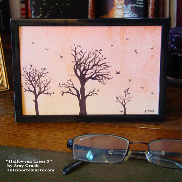 Halloween Trees 3, framed art by Amy Crook