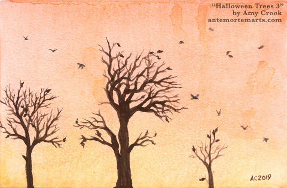 Halloween Trees 3 by Amy Crook, a watercolor of bare trees and flying crows against an orange sunset