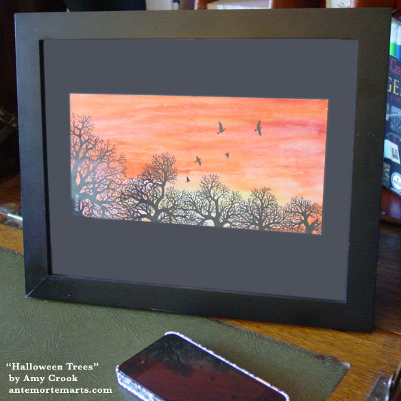 Halloween Trees, framed art by Amy Crook
