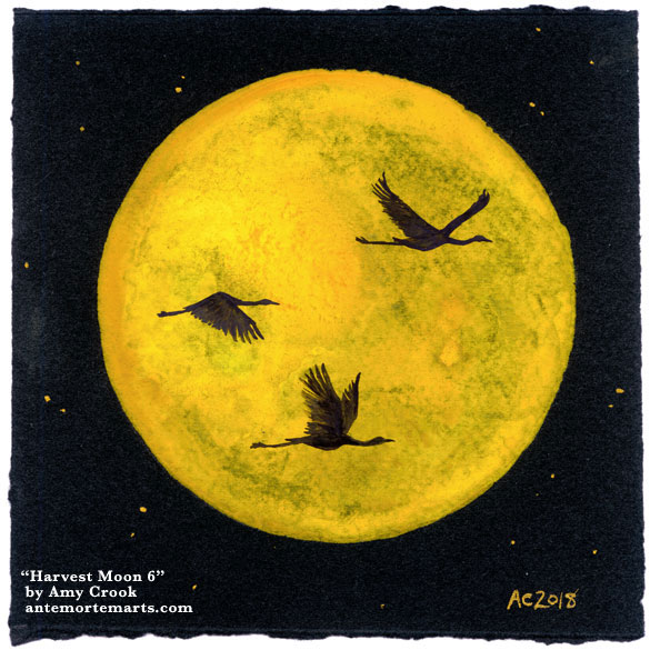 Harvest Moon 6 by Amy Crook, 3 sandhill cranes in silhouette against a golden full moon