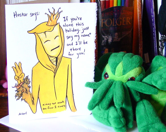 Hastur holiday card by Amy Crook on Etsy