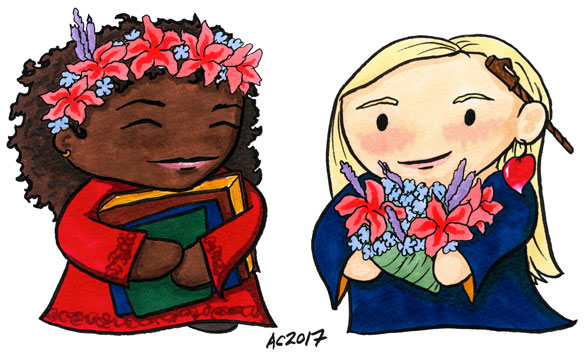 Hermione and Luna chibi parody art by Amy Crook