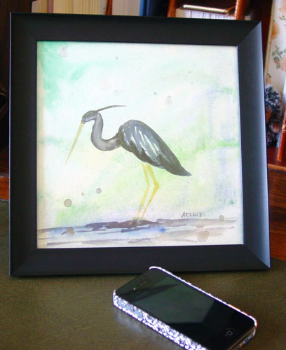 Heron, framed art by Amy Crook