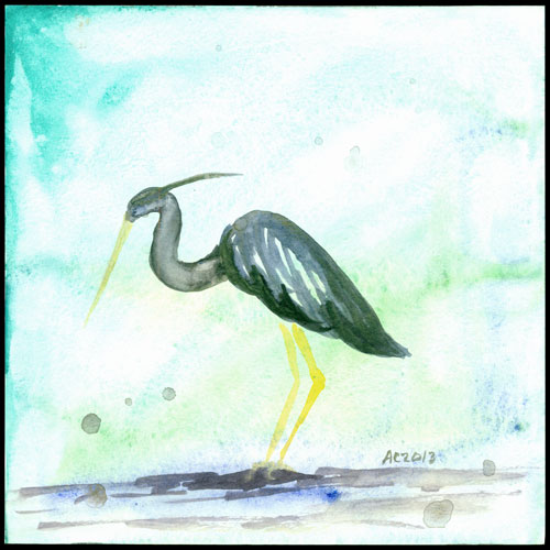 Heron watercolor by Amy Crook