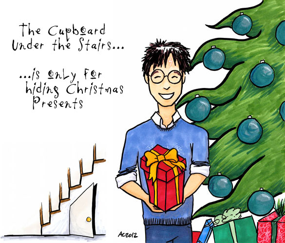 Christmas Cupboard, Harry Potter fan art by Amy Crook