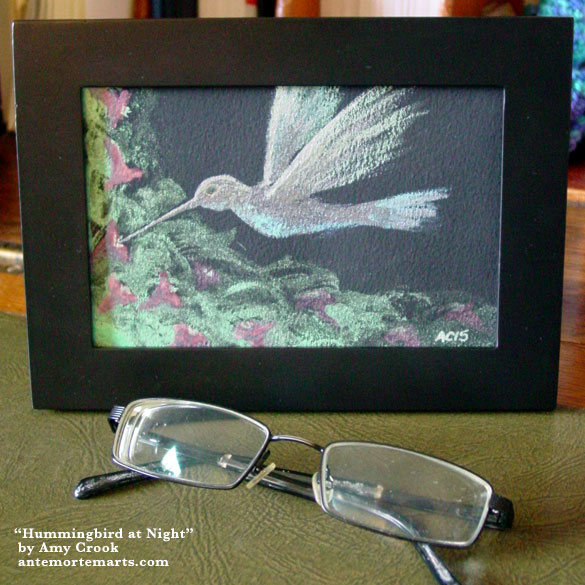 Hummingbird at Night, framed art by Amy Crook