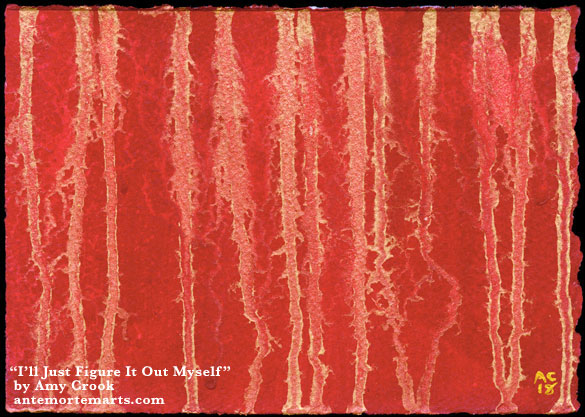 I'll Just Figure It Out Myself by Amy Crook, abstract art of gold lines on a red field