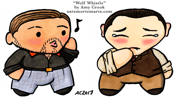 Wolf Whistle, Inception chibi parody art by Amy Crook