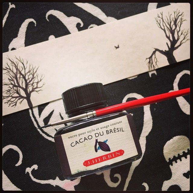 bookmark in J. Herbin Cacao du Brésil ink by Amy Crook