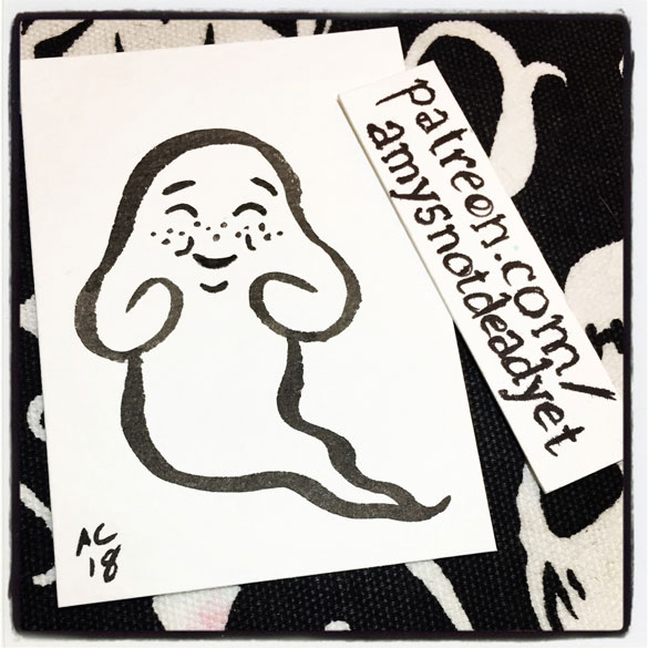 brush and ink art of a cute ghost