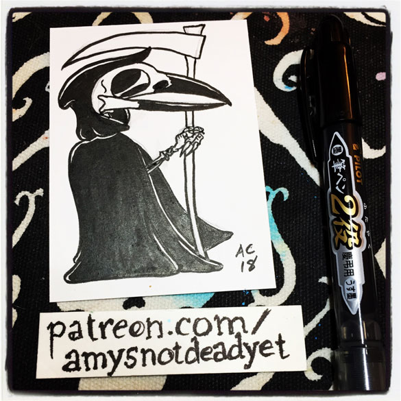 pen and ink drawing of a grim reaper with a crow skull and claw