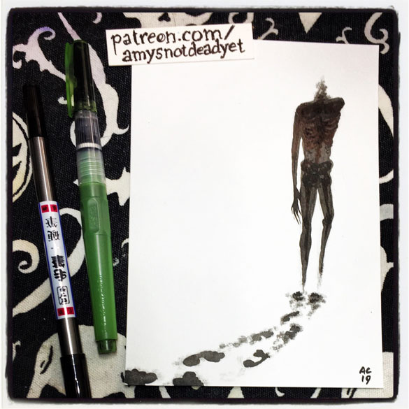 an ink wash painting of a headless ghost leaving ashy footprints behind him by Amy Crook
