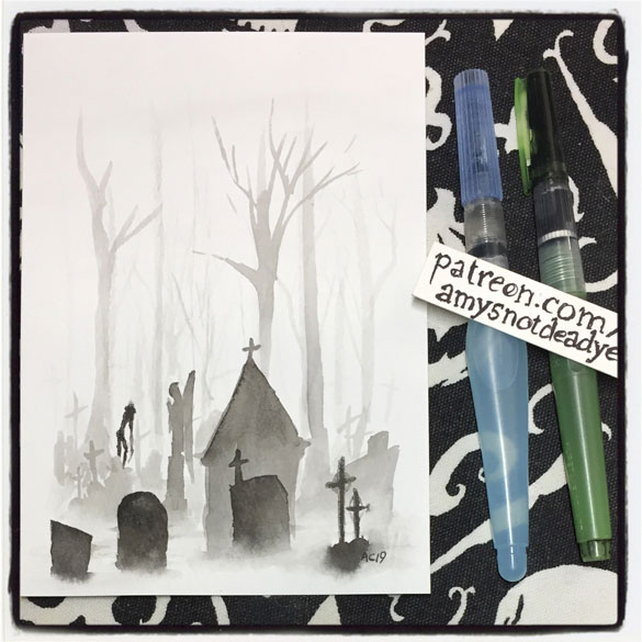 an ink wash painting of a graveyard with a headless ghost moving through the fog by Amy Crook