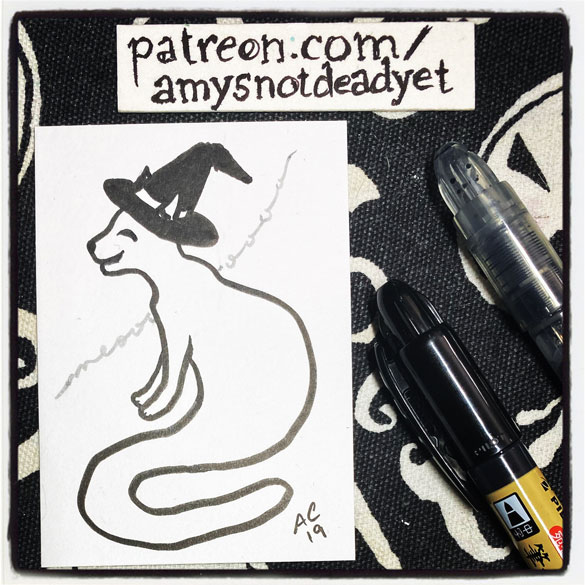 an ink drawing of a ghost cat in a witch hat by Amy Crook