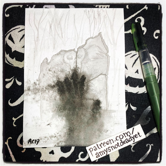 an ink wash painting of a cracked gravestone with an ashy handprint blowing away in the wind by Amy Crook