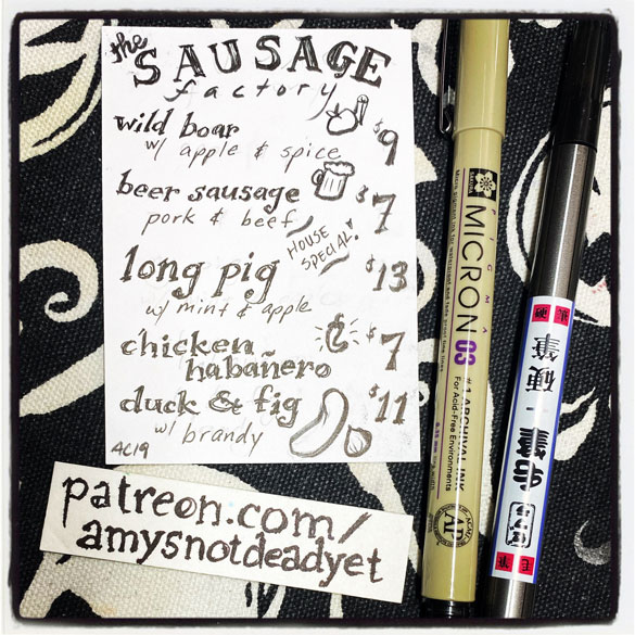an ink drawing of an imaginary sausage menu by Amy Crook