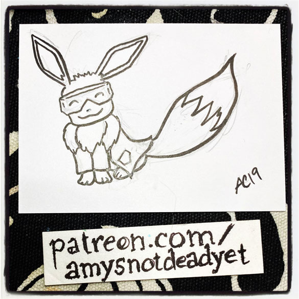 an ink drawing of Eevee in a lab coat and goggles by Amy Crook