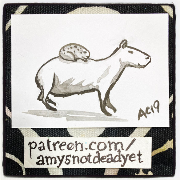 an ink wash painting of a capybara being ridden by a toad by Amy Crook