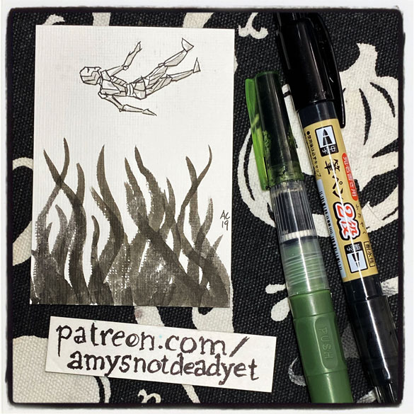 an ink wash painting of a tiny iron man falling into tentacles by Amy Crook