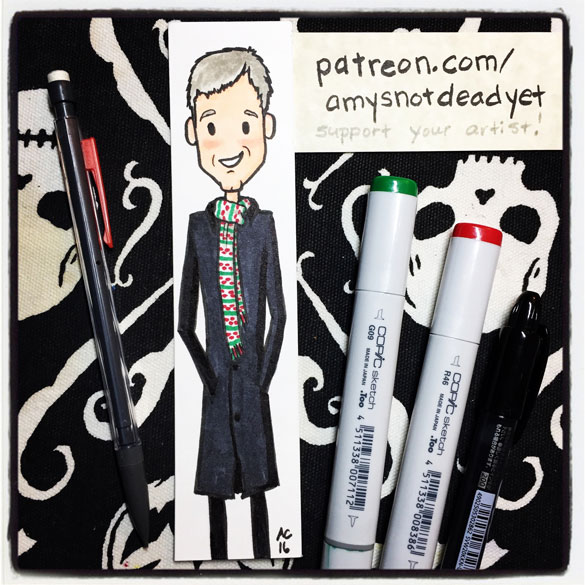Inktober day 8: holiday Lestrade bookmark