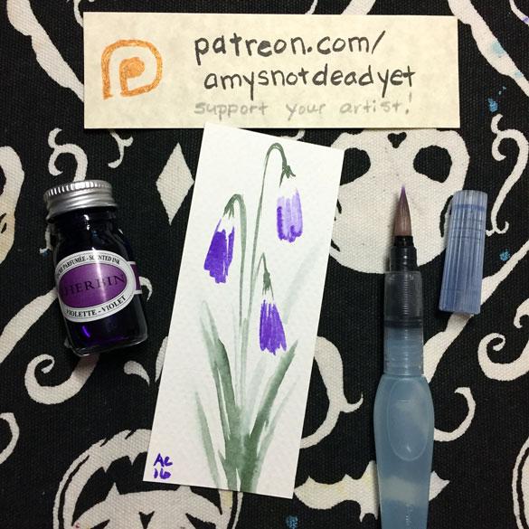 Inktober day 9: violets bookmark
