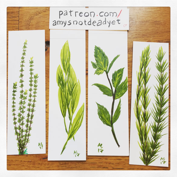 Inktober day 19: Thyme, Sage, Mint, & Rosemary bookmarks