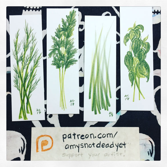 Inktober day 21: Dill, Parsley, Chives, & Basil bookmarks