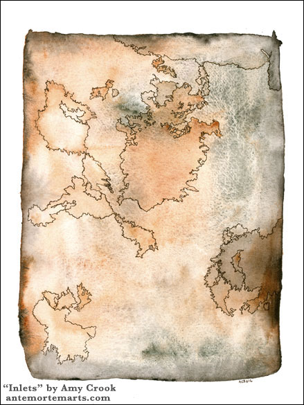 Inlets, abstract map by Amy Crook