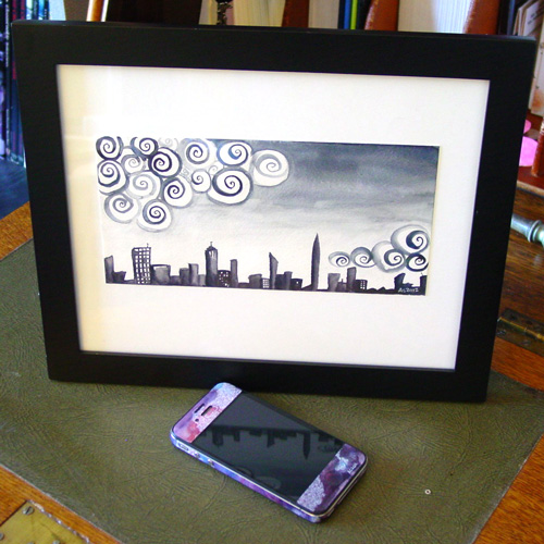 Insomnia City, framed art by Amy Crook