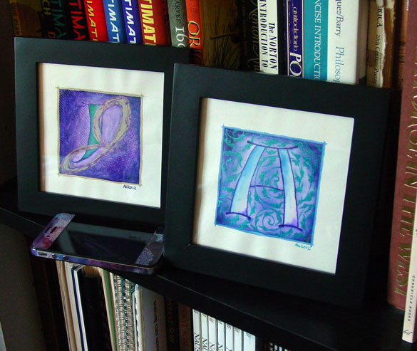 A is for Arabesque & J is for Juxtapose, framed art by Amy Crook