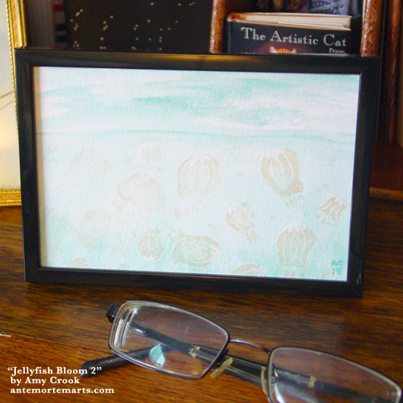 Jellyfish Bloom 2, framed art by Amy Crook