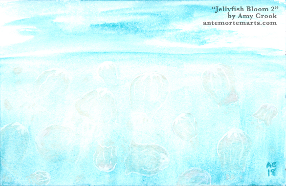 Jellyfish Bloom 2 by Amy Crook, a strange watercolor painting of transparent jellyfish against a turquoise ocean