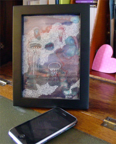 Jellyfish Deeps, framed art by Amy Crook