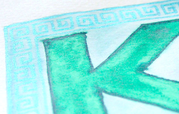 K is for Greek Key, detail, by Amy Crook