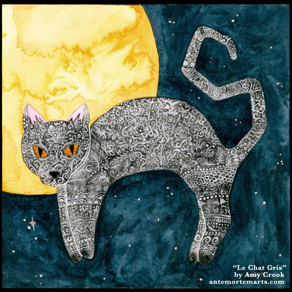 Le Chat Gris, watercolor art by Amy Crook