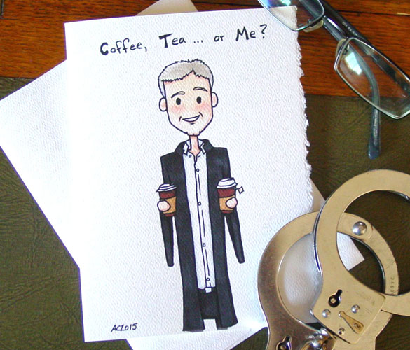 Flirty Lestrade greeting card by Amy Crook on Etsy