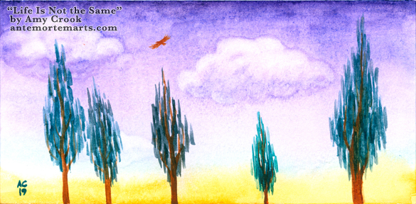Life Is Not the Same by Amy Crook, surreal paint-smear trees against soft purple clouds