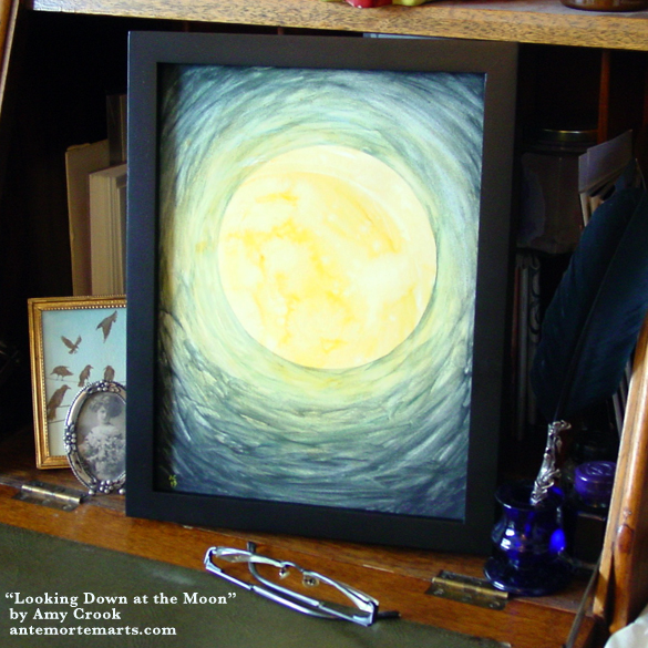 Looking Down at the Moon, framed art by Amy Crook