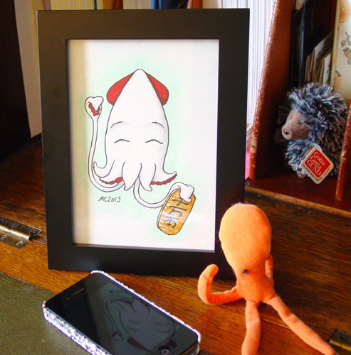 Lucky Squid, framed art by Amy Crook