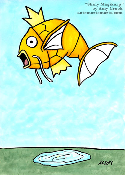 a golden shiny magikarp leaping upward above a tiny pond far below, by Amy Crook
