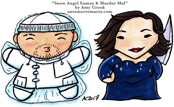 Snow Angel Eames and Murder Mal, Inception chibi fan art by Amy Crook