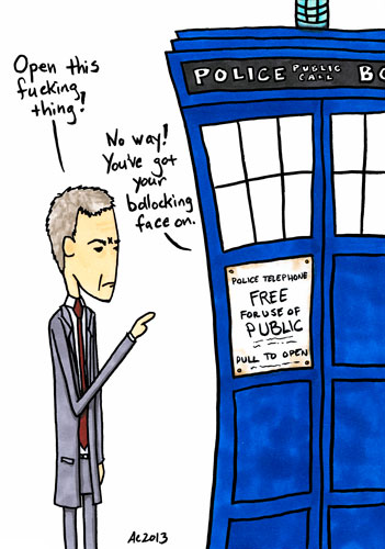 Bollocking the TARDIS, commission comic by Amy Crook - all rights reserved, please don't copy without permission
