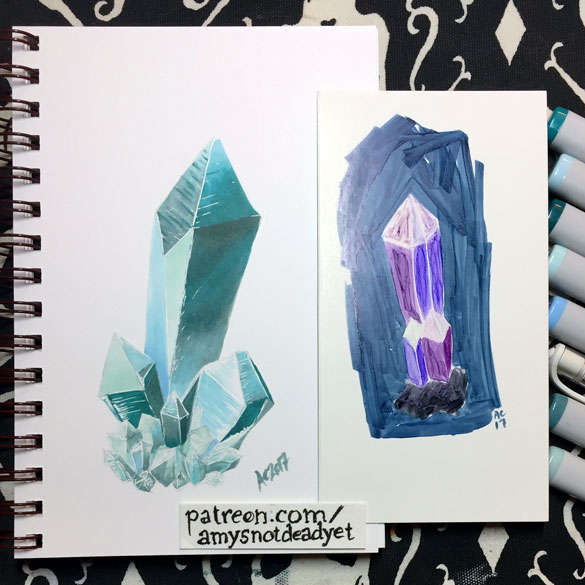 Aquamarine (left) and Amethyst Spear (right) by Amy Crook