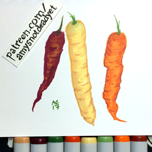 rainbow carrots sketch by Amy Crook