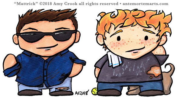 chibi Matt Usher and Patrick Reed from Swan Song, art by Amy Crook, with bonus Bach
